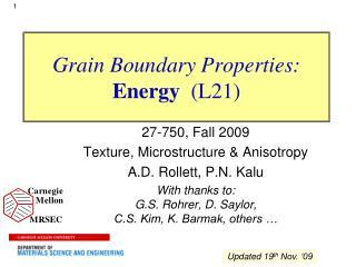 Grain Boundary Properties: Energy  L21