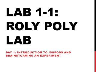 Lab 1-1:  Roly  Poly Lab