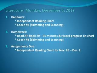 Literature: Monday, December 3, 2012