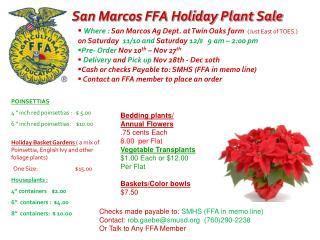 San Marcos FFA Holiday Plant Sale