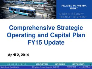 Comprehensive Strategic Operating and Capital Plan FY15 Update