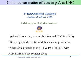 Cold nuclear matter effects  in p-A  at LHC