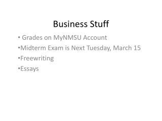 Business Stuff