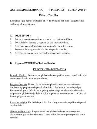 ACTIVIDADES SEMINARIO  4º PRIMARIA CURSO: 2013-14 Pilar   Castillo