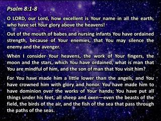 Psalm 8:1-8