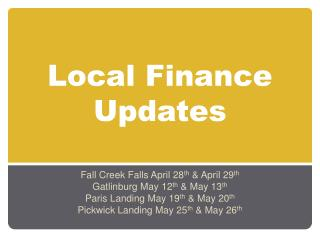 Local Finance Updates