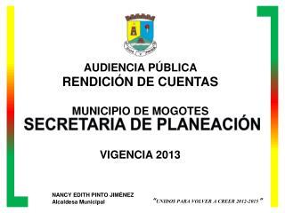 AUDIENCIA PÚBLICA  RENDICIÓN DE CUENTAS MUNICIPIO DE MOGOTES VIGENCIA 2013