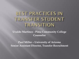 Best Practices in Transfer Student Transition