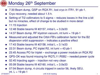 Monday 26 th  September