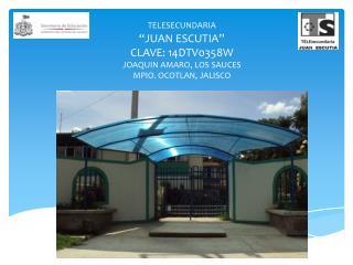 "TELESECUNDARIA ""JUAN ESCUTIA"" CLAVE: 14DTV0358W JOAQUIN AMARO, LOS SAUCES MPIO. OCOTLAN, JALISCO"