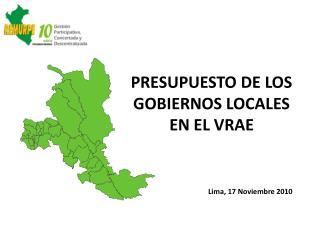 PRESUPUESTO DE LOS  GOBIERNOS LOCALES EN EL VRAE