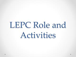 LEPC Role and Activities