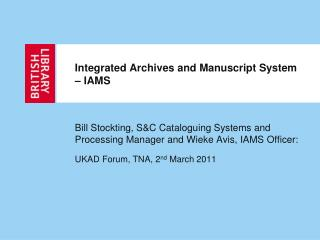 Integrated Archives and Manuscript System   IAMS