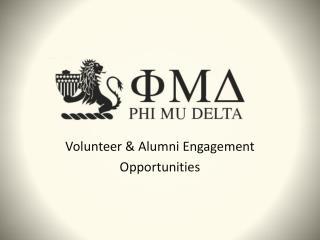 Volunteer & Alumni Engagement Opportunities