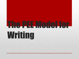 The PEE Model for Writing