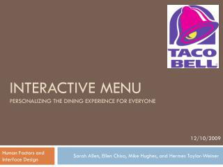 Interactive Menu Personalizing the Dining Experience for Everyone