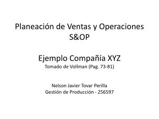 S&OP Compañía XYZ