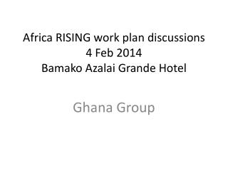 Africa RISING work plan discussions 4 Feb 2014 Bamako  Azalai  Grande Hotel