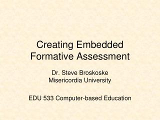 Creating Embedded Formative Assessment