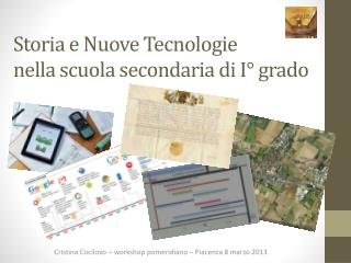 Storia  e  Nuove Tecnologie  nella  scuola secondaria di  I° grado