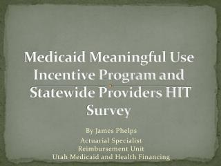 Medicaid Meaningful Use Incentive Program and  Statewide Providers HIT Survey