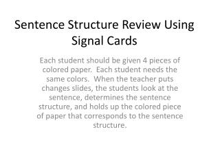 Sentence Structure Review Using Signal Cards
