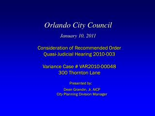 Orlando City Council January 10, 2011