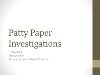 Patty Paper Investigations