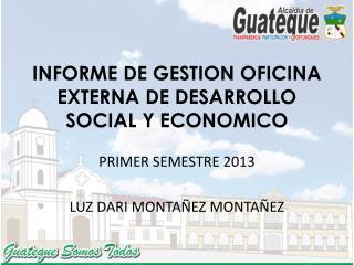 INFORME DE GESTION OFICINA EXTERNA DE DESARROLLO SOCIAL Y ECONOMICO