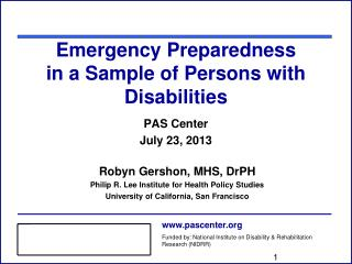 Emergency Preparedness  in a Sample of Persons with Disabilities