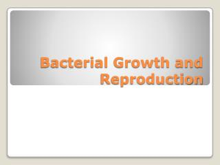 Bacterial Growth and Reproduction