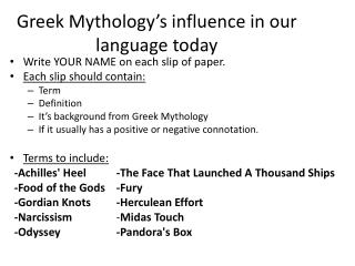Greek Mythology's influence in our language today