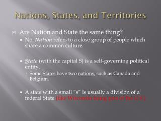 Nations, States, and Territories