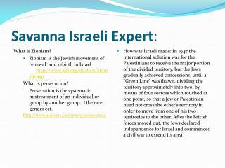 Savanna Israeli Expert :