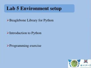Lab 5 Environment setup