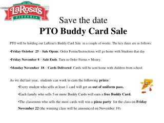 Save the date PTO Buddy Card Sale