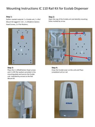 Mounting Instructions IC  110  Rail Kit for Ecolab  Dispenser
