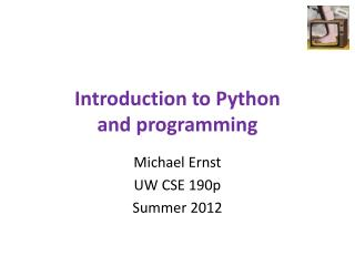 Introduction to Python and programming