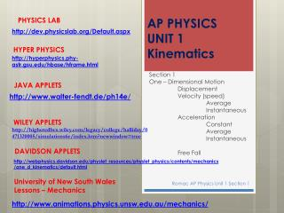 AP PHYSICS  UNIT 1 Kinematics