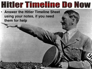 Answer the  Hitler  Timeline  Sheet using your notes, if you need them for help