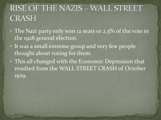RISE OF THE NAZIS – WALL STREET CRASH
