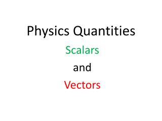 Physics Quantities