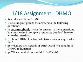 1/18 Assignment:  DHMO
