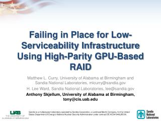 Failing in Place for Low-Serviceability Infrastructure Using High-Parity GPU-Based RAID