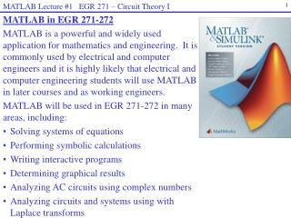 MATLAB Lecture #1   EGR 271  –  Circuit Theory I