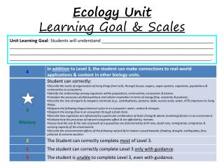 Ecology Unit                      Learning Goal & Scales