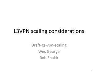 L3VPN scaling considerations