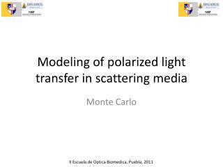 Modeling of polarized light transfer in scattering media