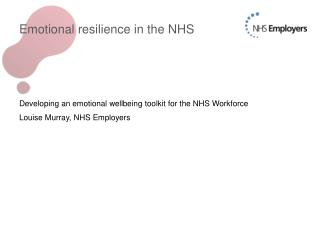 Emotional resilience in the NHS