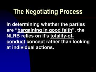 The Negotiating Process
